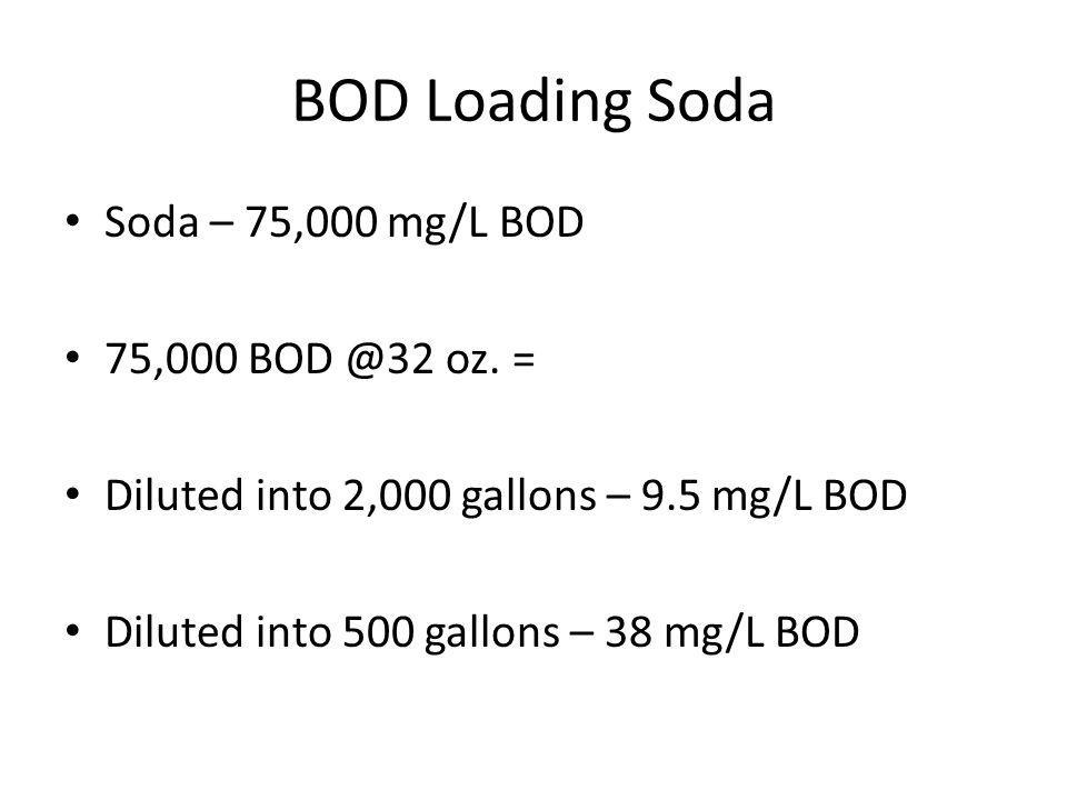 BOD Loading Soda Soda – 75,000 mg/L BOD 75,000 BOD @32 oz. = Diluted into 2,000 gallons – 9.5 mg/L BOD Diluted into 500 gallons – 38 mg/L BOD