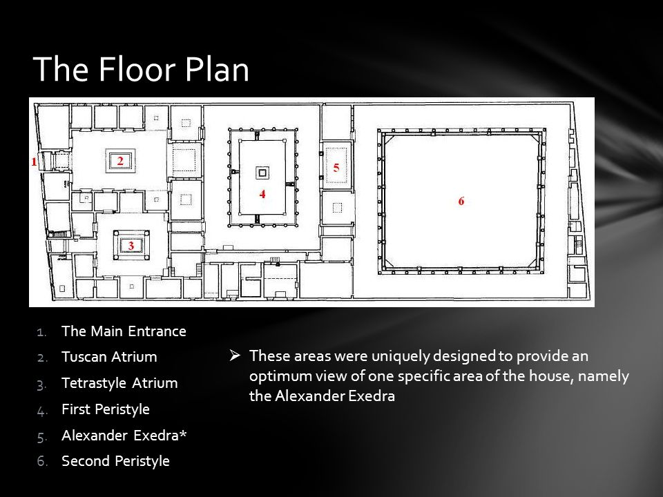 1.The Main Entrance 2.Tuscan Atrium 3.Tetrastyle Atrium 4.First Peristyle 5.Alexander Exedra* 6.Second Peristyle The Floor Plan These areas were uniqu