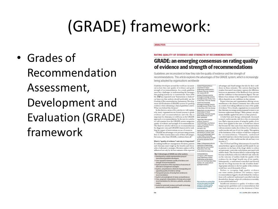 (GRADE) framework: Grades of Recommendation Assessment, Development and Evaluation (GRADE) framework