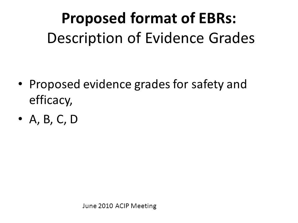 Proposed format of EBRs: Description of Evidence Grades Proposed evidence grades for safety and efficacy, A, B, C, D June 2010 ACIP Meeting