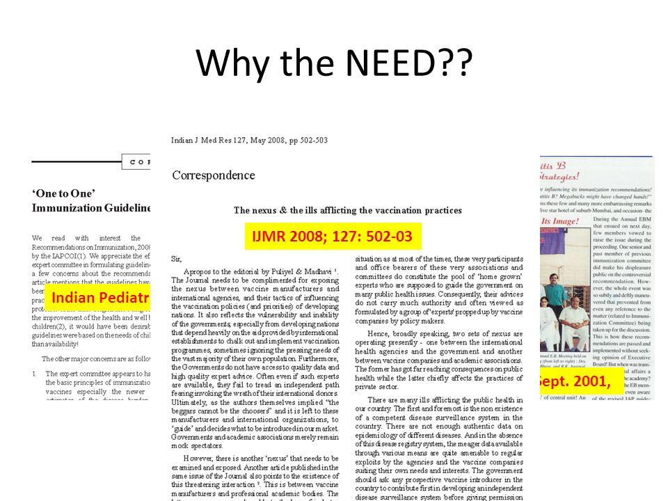 Why the NEED . Indian Pediatrics, 2009,; 46: 1021-23 PEDIASCENE June-Sept.