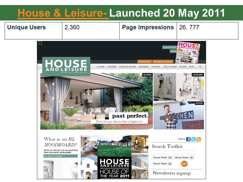 Unique Users2,360Page Impressions26, 777 House & Leisure- House & Leisure- Launched 20 May 2011