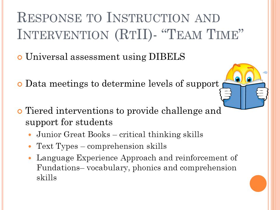 R ESPONSE TO I NSTRUCTION AND I NTERVENTION (R T II)- T EAM T IME Universal assessment using DIBELS Data meetings to determine levels of support Tiered interventions to provide challenge and support for students Junior Great Books – critical thinking skills Text Types – comprehension skills Language Experience Approach and reinforcement of Fundations– vocabulary, phonics and comprehension skills