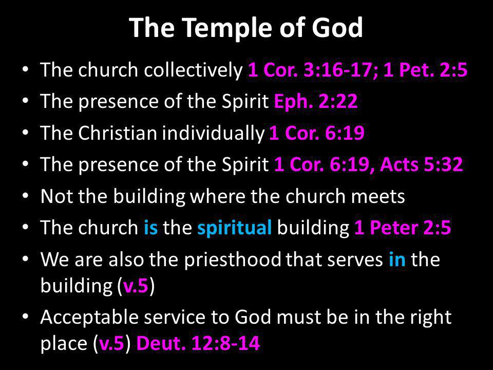 The Temple of God The church collectively 1 Cor. 3:16-17; 1 Pet. 2:5 The presence of the Spirit Eph. 2:22 The Christian individually 1 Cor. 6:19 The p