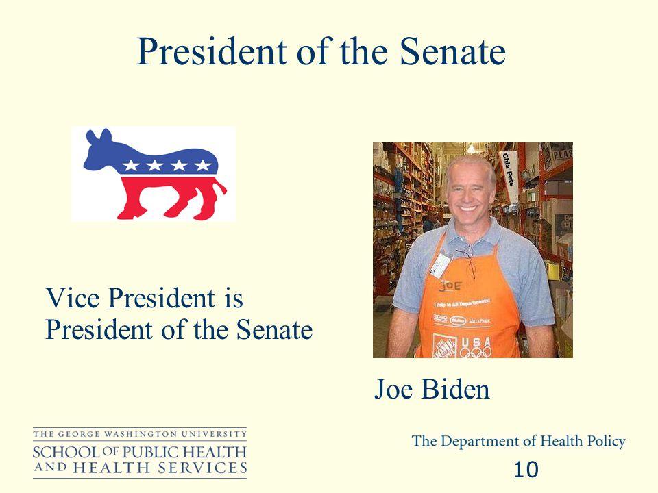 President of the Senate Vice President is President of the Senate 10 Joe Biden