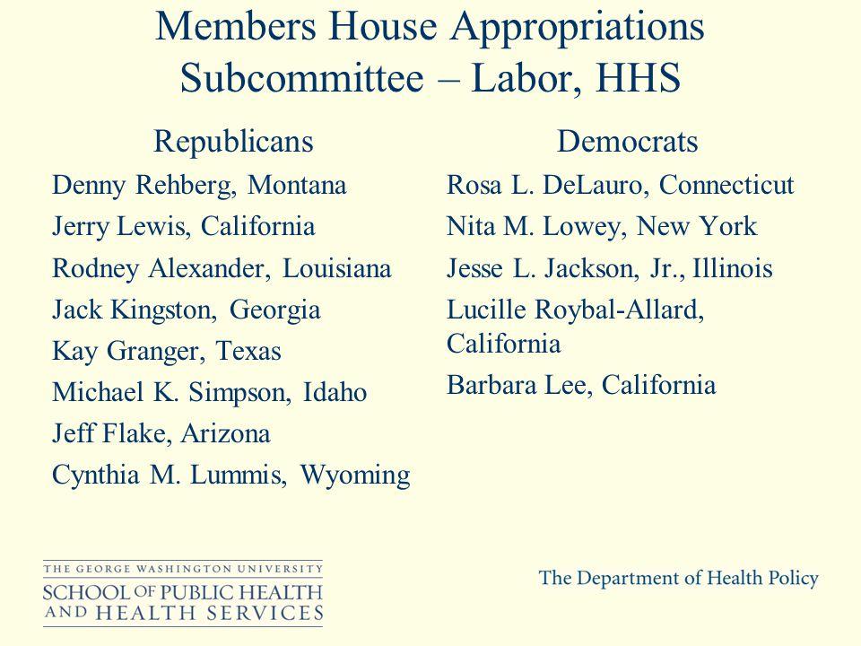 Members House Appropriations Subcommittee – Labor, HHS Republicans Denny Rehberg, Montana Jerry Lewis, California Rodney Alexander, Louisiana Jack Kingston, Georgia Kay Granger, Texas Michael K.