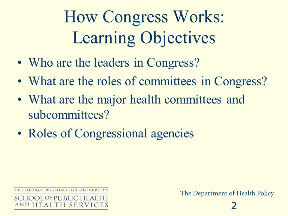 How Congress Works: Learning Objectives Who are the leaders in Congress.