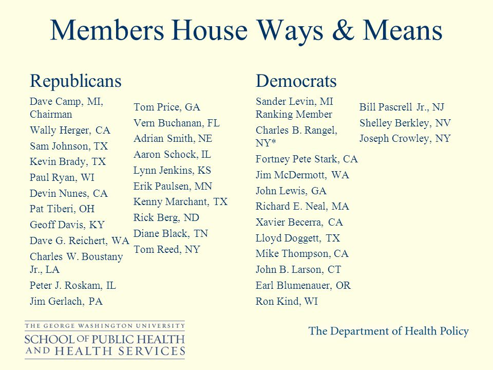 Members House Ways & Means Republicans Dave Camp, MI, Chairman Wally Herger, CA Sam Johnson, TX Kevin Brady, TX Paul Ryan, WI Devin Nunes, CA Pat Tiberi, OH Geoff Davis, KY Dave G.
