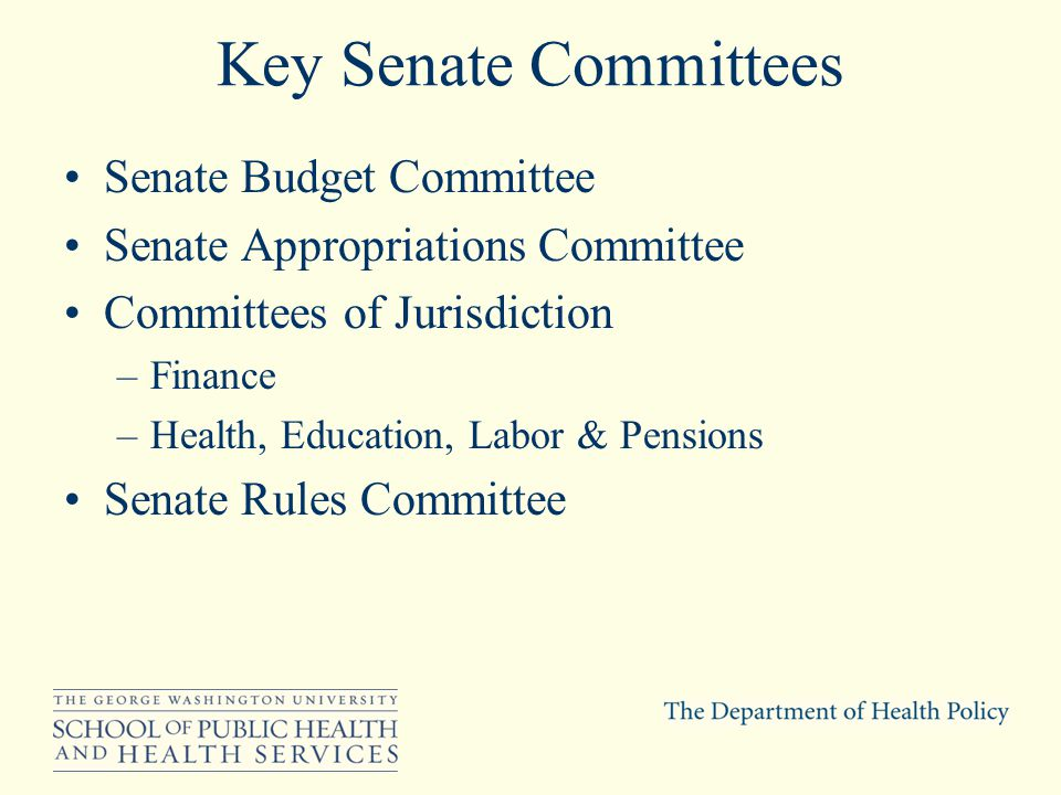 Key Senate Committees Senate Budget Committee Senate Appropriations Committee Committees of Jurisdiction –Finance –Health, Education, Labor & Pensions Senate Rules Committee