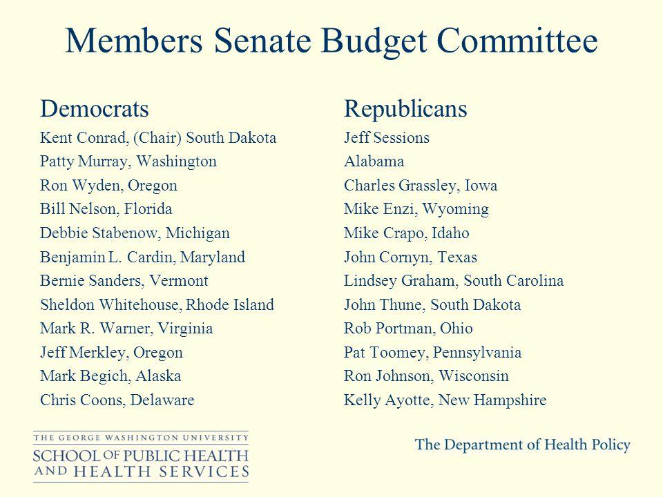 Members Senate Budget Committee Democrats Kent Conrad, (Chair) South Dakota Patty Murray, Washington Ron Wyden, Oregon Bill Nelson, Florida Debbie Stabenow, Michigan Benjamin L.