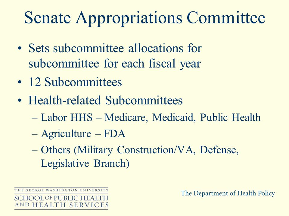Senate Appropriations Committee Sets subcommittee allocations for subcommittee for each fiscal year 12 Subcommittees Health-related Subcommittees –Labor HHS – Medicare, Medicaid, Public Health –Agriculture – FDA –Others (Military Construction/VA, Defense, Legislative Branch)