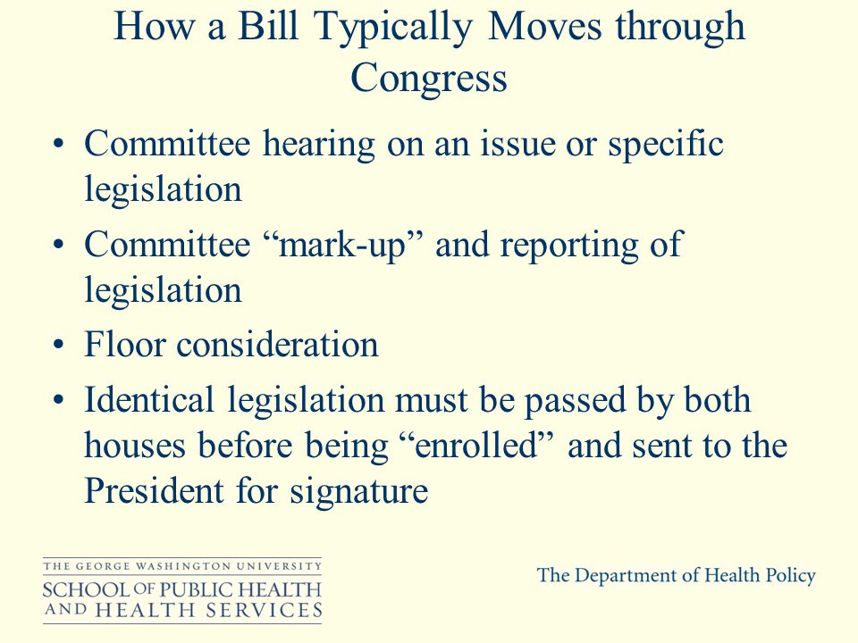 How a Bill Typically Moves through Congress Committee hearing on an issue or specific legislation Committee mark-up and reporting of legislation Floor consideration Identical legislation must be passed by both houses before being enrolled and sent to the President for signature
