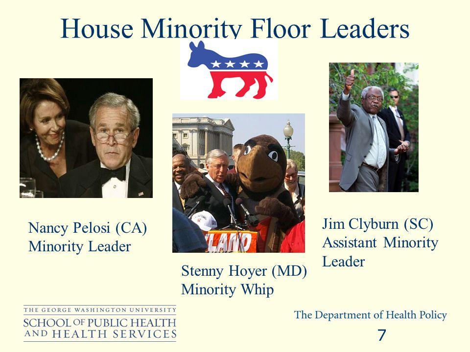 Senate Majority Floor Leaders Dick Durbin (IL) Majority Whip Harry Reid (NV) Majority Leader 8