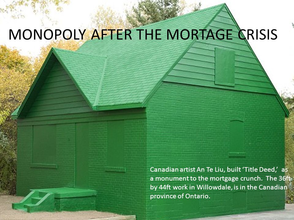 Canadian artist An Te Liu, built Title Deed, as a monument to the mortgage crunch. The 36ft by 44ft work in Willowdale, is in the Canadian province of