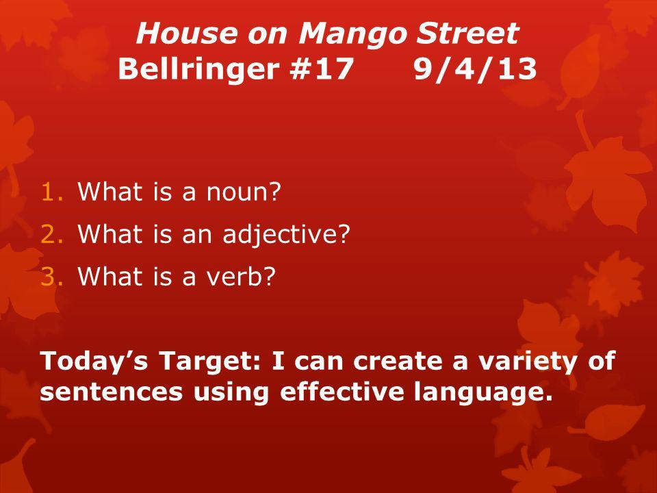 House on Mango Street Bellringer #179/4/13 1.What is a noun.