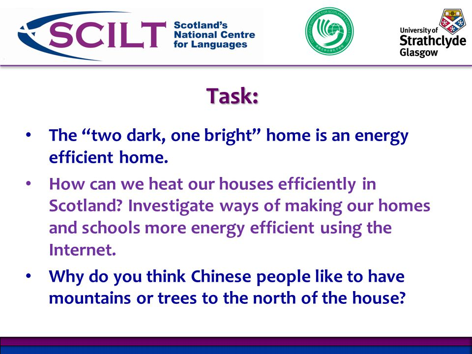 Task: The two dark, one bright home is an energy efficient home.