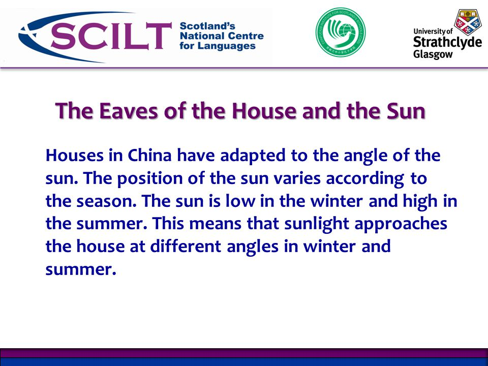 The Eaves of the House and the Sun Houses in China have adapted to the angle of the sun.
