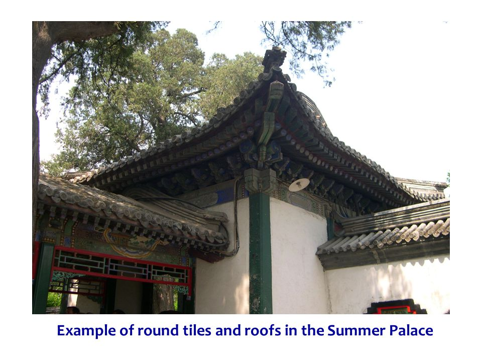 Example of round tiles and roofs in the Summer Palace
