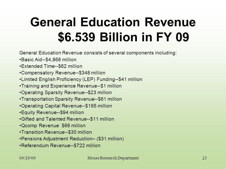 09/29/09 General Education Revenue $6.539 Billion in FY 09 General Education Revenue consists of several components including: Basic Aid--$4,868 milli