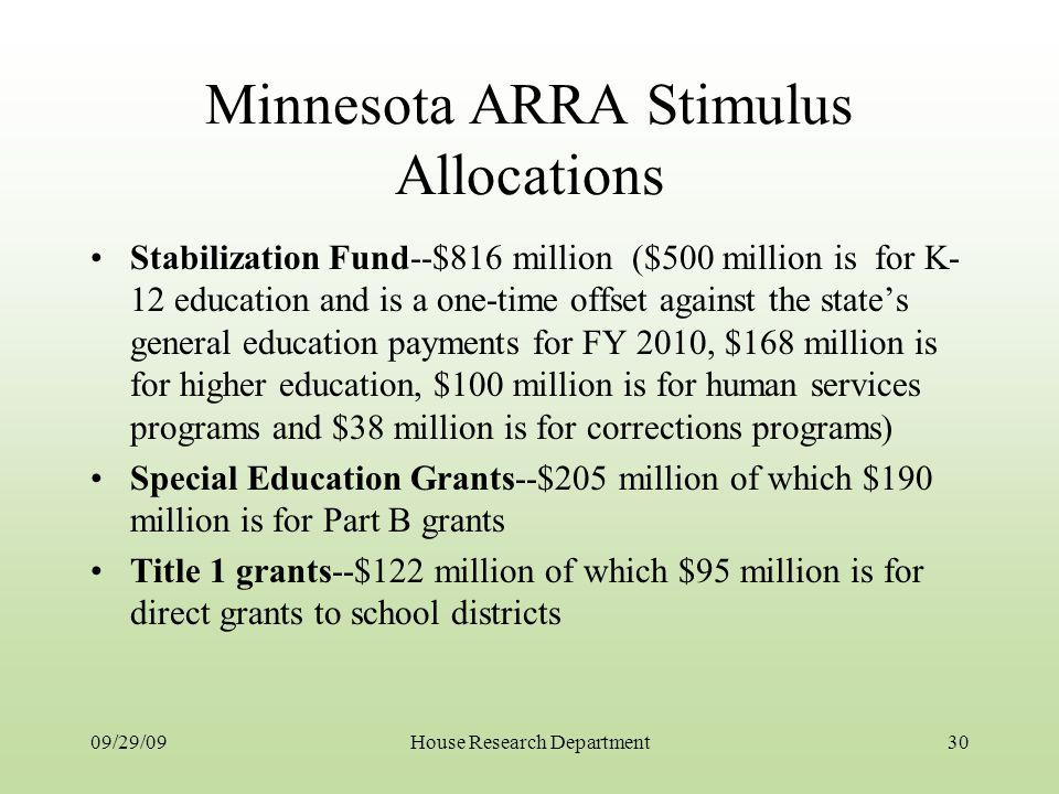 Minnesota ARRA Stimulus Allocations Stabilization Fund--$816 million ($500 million is for K- 12 education and is a one-time offset against the states general education payments for FY 2010, $168 million is for higher education, $100 million is for human services programs and $38 million is for corrections programs) Special Education Grants--$205 million of which $190 million is for Part B grants Title 1 grants--$122 million of which $95 million is for direct grants to school districts 09/29/0930House Research Department