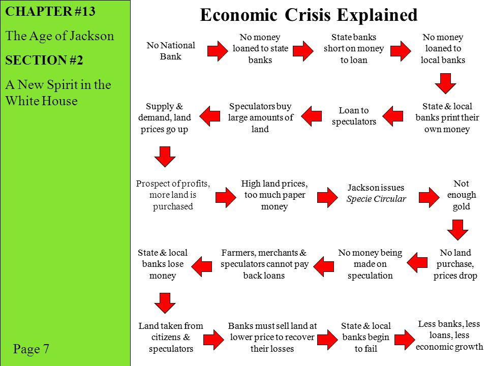 Page 7 Economic Crisis Explained CHAPTER #13 The Age of Jackson SECTION #2 A New Spirit in the White House No National Bank No money loaned to state b