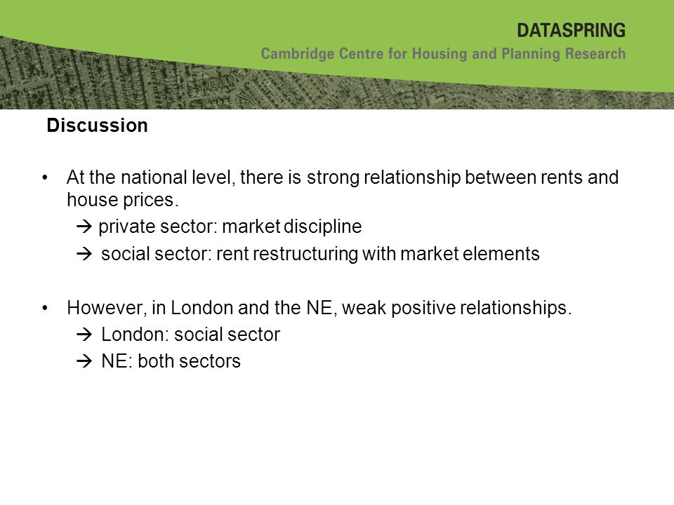 Discussion At the national level, there is strong relationship between rents and house prices.