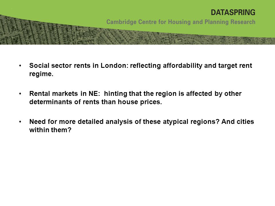 Social sector rents in London: reflecting affordability and target rent regime.