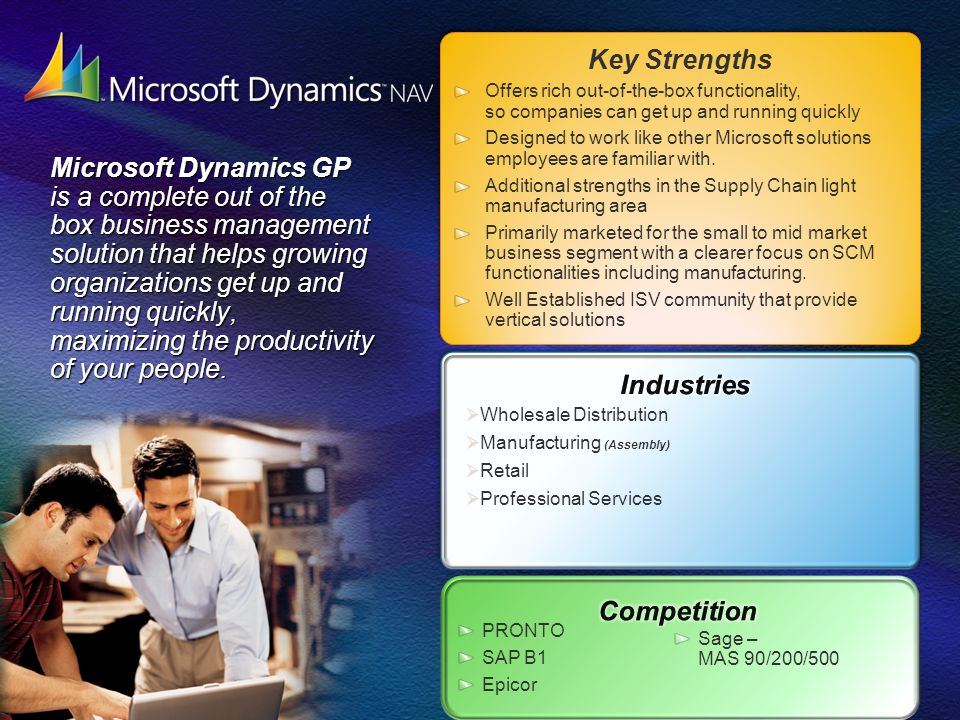 Microsoft Dynamics SL is a business management solution that enables project driven mid-sized organizations to automate and streamline processes, helping you meet your customers requirements.