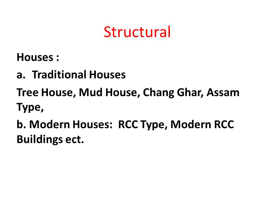 Structural Houses : a.Traditional Houses Tree House, Mud House, Chang Ghar, Assam Type, b. Modern Houses: RCC Type, Modern RCC Buildings ect.