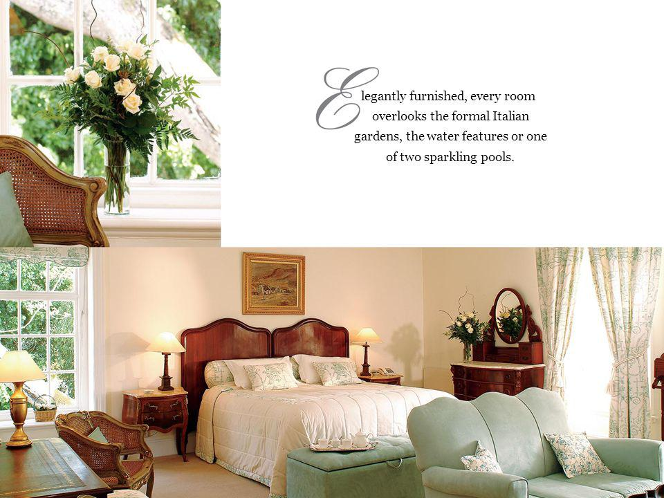 legantly furnished, every room overlooks the formal Italian gardens, the water features or one of two sparkling pools.