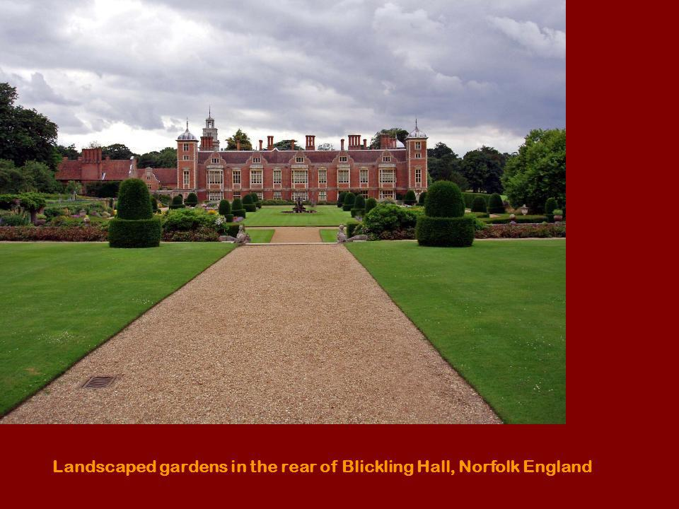 Landscaped gardens in the rear of Blickling Hall, Norfolk England