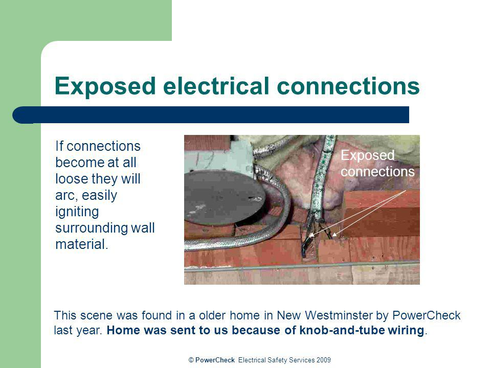 © PowerCheck Electrical Safety Services 2009 Exposed electrical connections Exposed connections This scene was found in a older home in New Westminste