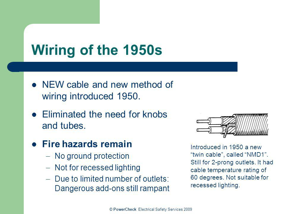 © PowerCheck Electrical Safety Services 2009 Wiring of the 1950s NEW cable and new method of wiring introduced 1950. Eliminated the need for knobs and