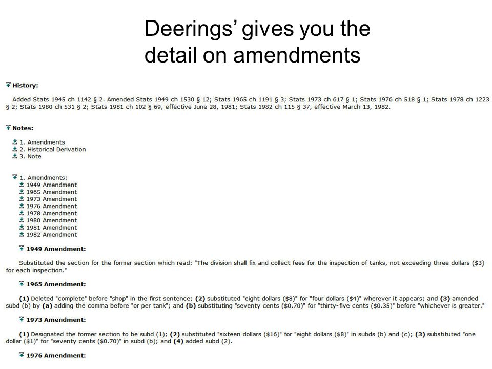 Deerings gives you the detail on amendments