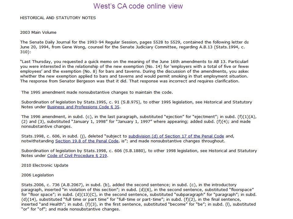 Wests CA code online view