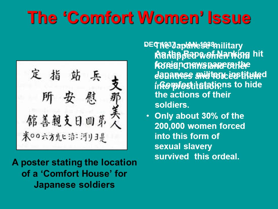 The Comfort Women Issue A poster stating the location of a Comfort House for Japanese soldiers Today in Korea there are fewer than 100 comfort woman survivors.