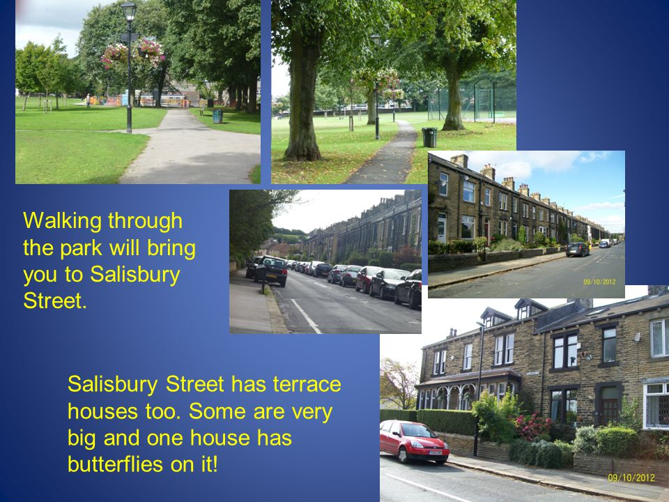 Walking through the park will bring you to Salisbury Street. Salisbury Street has terrace houses too. Some are very big and one house has butterflies