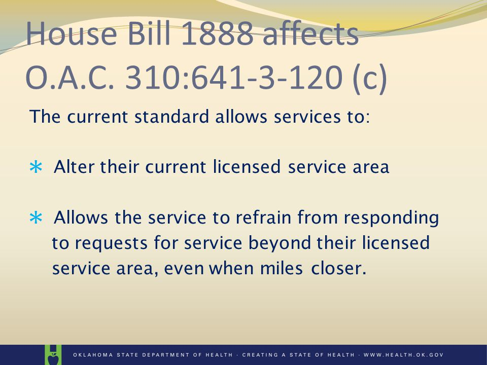 The current standard allows services to: Alter their current licensed service area Allows the service to refrain from responding to requests for service beyond their licensed service area, even when miles closer.