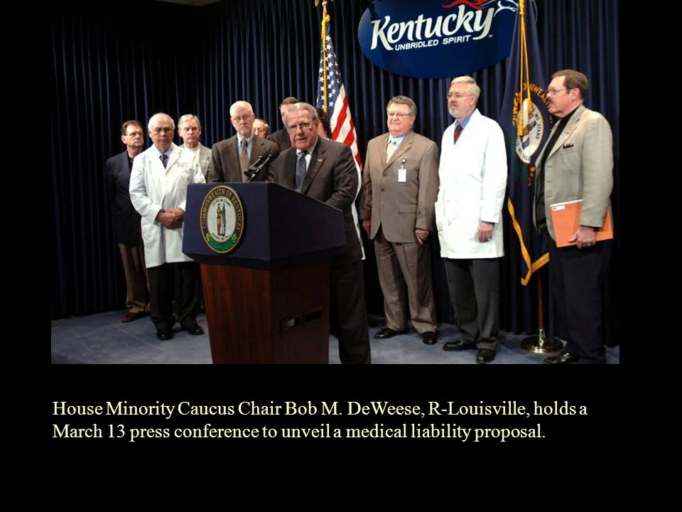 House Minority Caucus Chair Bob M. DeWeese, R-Louisville, holds a March 13 press conference to unveil a medical liability proposal.