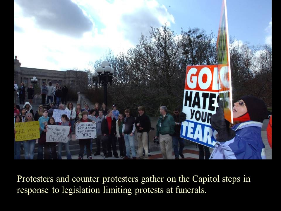 Protesters and counter protesters gather on the Capitol steps in response to legislation limiting protests at funerals.