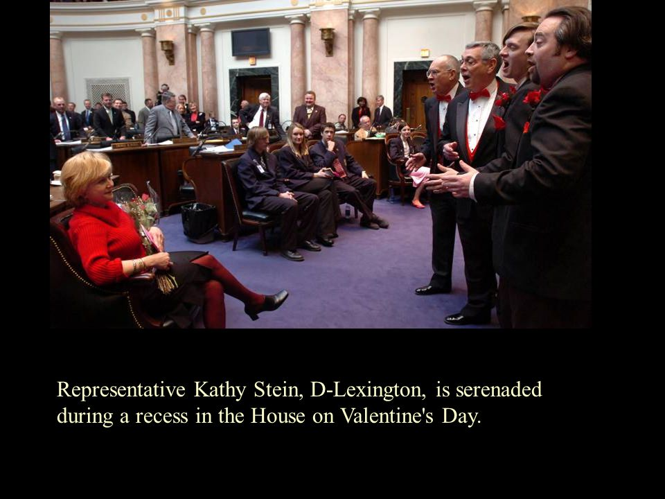 Representative Kathy Stein, D-Lexington, is serenaded during a recess in the House on Valentine's Day.