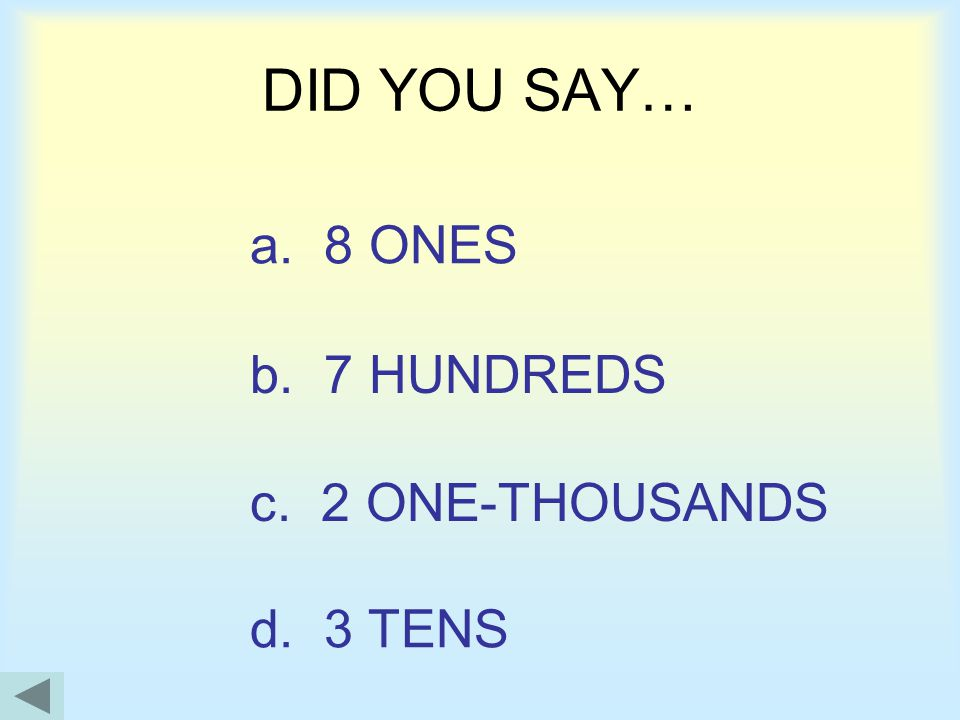 ONESHUNDREDS ONE THOUSANDS TENS Try a quiz OUT LOUD-Say the value of this number