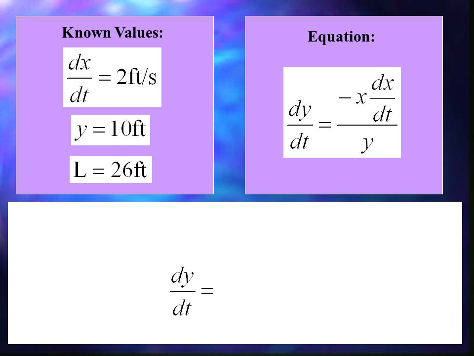 Known Values: Equation: