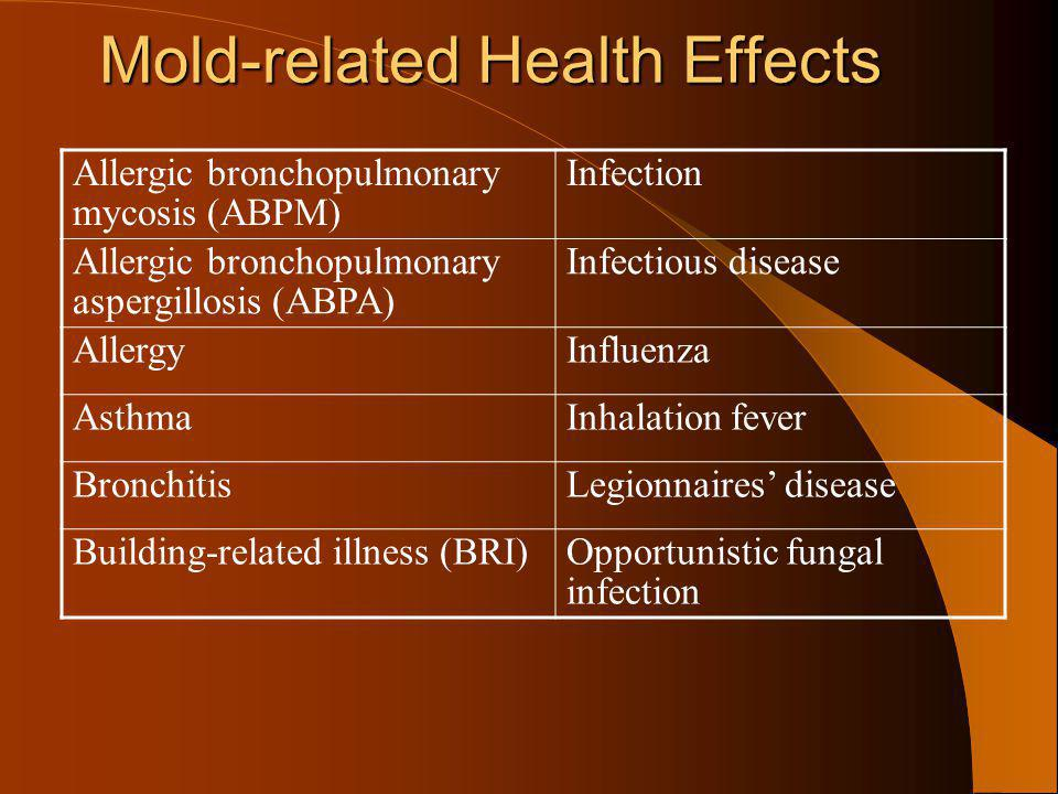 Mold-related Health Effects Mold-related Health Effects Allergic bronchopulmonary mycosis (ABPM) Infection Allergic bronchopulmonary aspergillosis (AB