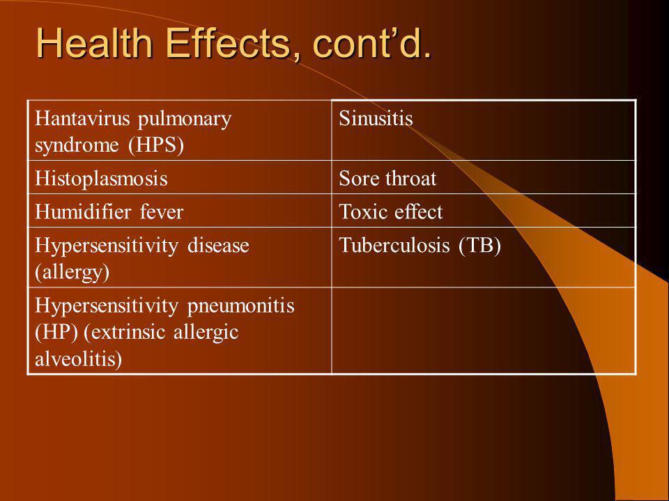 Hantavirus pulmonary syndrome (HPS) Sinusitis HistoplasmosisSore throat Humidifier feverToxic effect Hypersensitivity disease (allergy) Tuberculosis (TB) Hypersensitivity pneumonitis (HP) (extrinsic allergic alveolitis) Health Effects, contd.