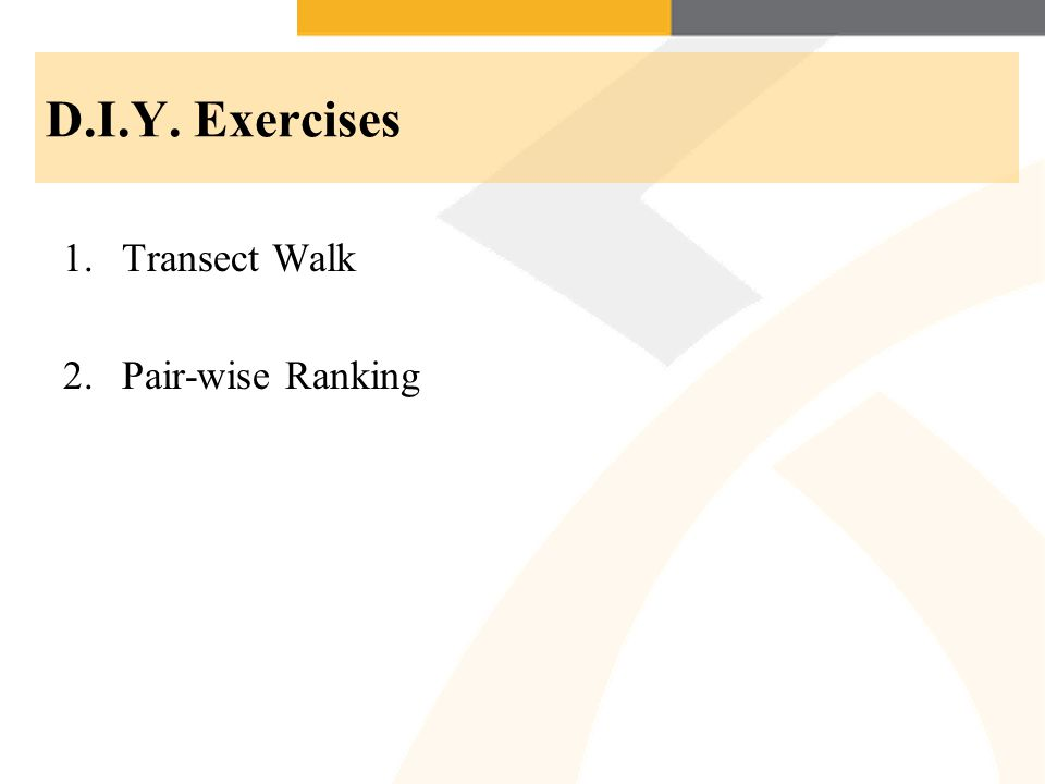 D.I.Y. Exercises 1.Transect Walk 2.Pair-wise Ranking