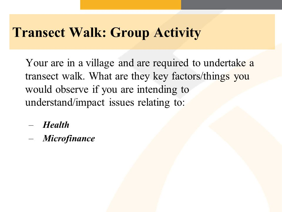 Transect Walk: Group Activity Your are in a village and are required to undertake a transect walk.