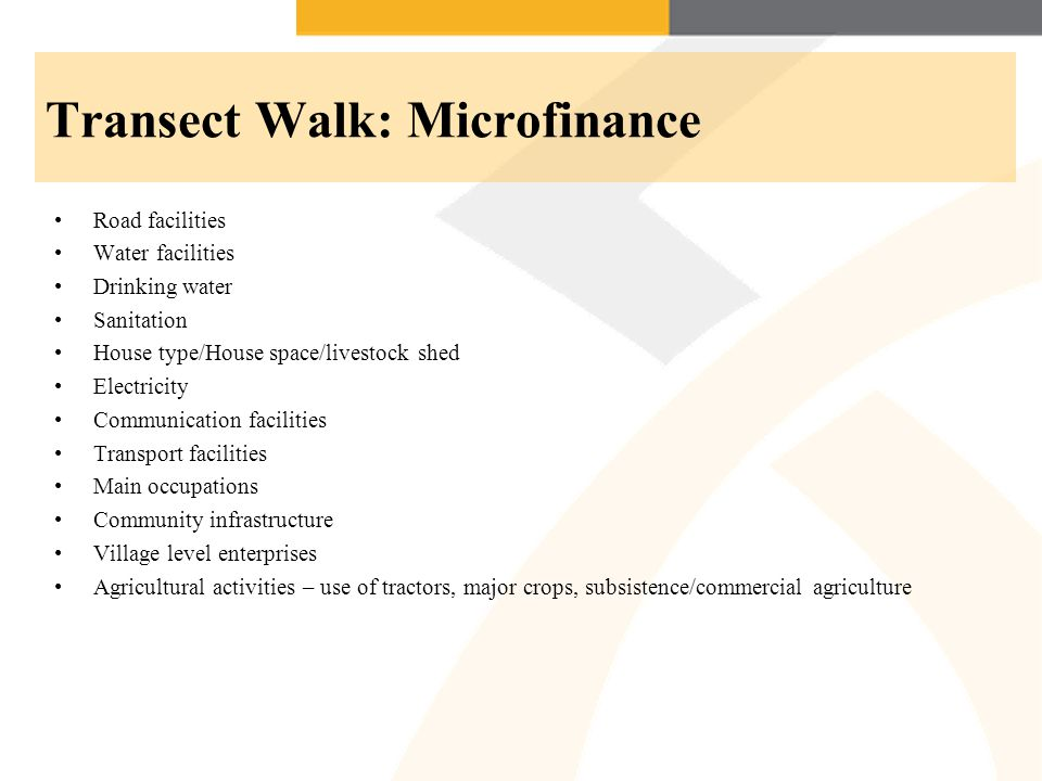 Transect Walk: Microfinance Road facilities Water facilities Drinking water Sanitation House type/House space/livestock shed Electricity Communication facilities Transport facilities Main occupations Community infrastructure Village level enterprises Agricultural activities – use of tractors, major crops, subsistence/commercial agriculture
