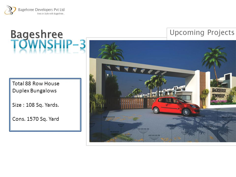 Upcoming ProjectsBageshree Total 88 Row House Duplex Bungalows Size : 108 Sq. Yards. Cons. 1570 Sq. Yard