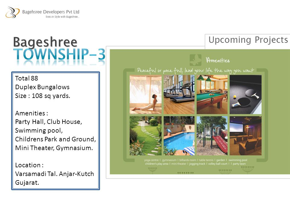Bageshree Total 88 Duplex Bungalows Size : 108 sq yards. Amenities : Party Hall, Club House, Swimming pool, Childrens Park and Ground, Mini Theater, G